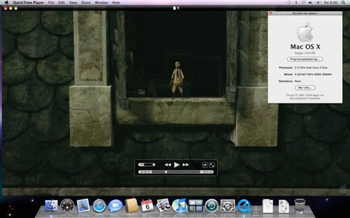 Интерфейс QuickTime X Player в Mac OS X Snow Leopard.